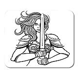 N\A Alfombrilla de ratón Amazon Black and White Warrior Woman Female Strong Viking Mousepad para portátiles, Ordenadores de sobremesa Alfombrillas para ratón, Material de Oficina