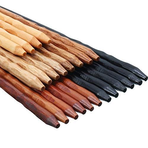 12 Pares Palillos de Madera Palillos Reutilizables de Madera Antideslizante y Lavavajillas de Seguro de Corea Japón para Juego de Vajilla de Cocina Casa, 9 Pulgadas 5 Colores