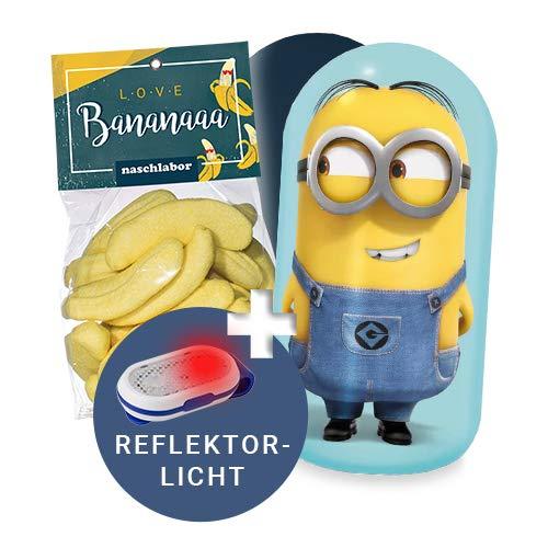 Minions x naschlabor | Geschenk-Dose mit Banana-Marshmallowtüte und Blinklicht | Geschenkset: Minions Spielzeug und Schulranzen-Reflektor | Für Kinder und Erwachsene