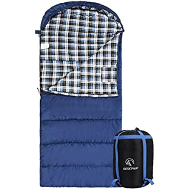 REDCAMP Cotton Flannel Sleeping Bag for Adults, XL 32F Comfortable, Envelope with Compression Sack Blue 3lbs(95 x35 )