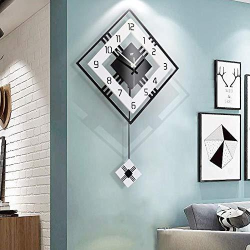 Wandklok, eenvoudige houten nummer wandklok Rhombus Mute quartz klok met sticker Home Living Room Decor