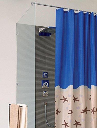 Duschvorhang KARIBIK -Textil-200x180cm-Farbe:blau/sand mit Motiv-100prozentPolyester