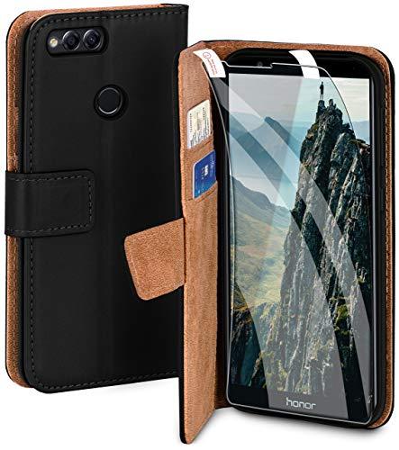 moex Handyhülle für Huawei Honor 7X - Hülle mit Kartenfach, Geldfach & Ständer, Klapphülle, PU Leder Book Hülle & Schutzfolie - Schwarz