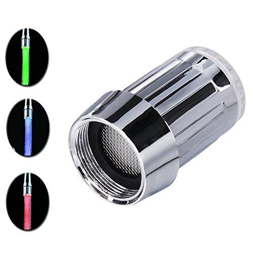 SHABEI LED Wasserhahn Temperatur,Glow Wasser Stream Mini Wasser Powered Temperatur Sensor 3 Farben ändern LED Wasserhahn Licht - 2