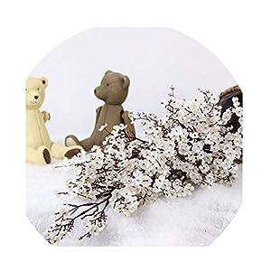 Silk Flower Arrangements Sevem-D Cherry Blossoms Artificial Flowers Baby's Breath Gypsophila Fake Flowers DIY Wedding Decoration-White