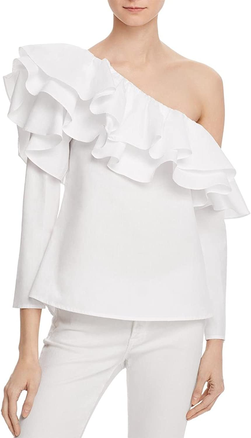 Endless pink Womens Twill One Shoulder Blouse White M