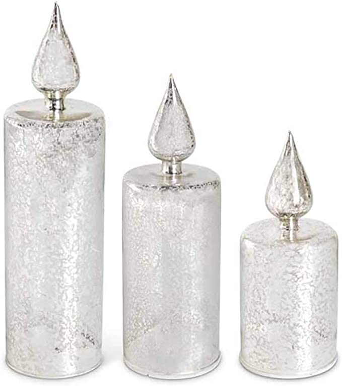 K/&K Interiors Silver 17.5 Inch LED Mercury Glass Finial