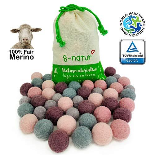 """8-Natur """"Mix Jubel"""" Bunte Mischung aus 50 Filzkugeln 2,2cm dick aus Reiner Merinowolle zum Basteln von Girlanden, Baby Mobile und Filzkugelteppich oder einfach nur zur Deko"""