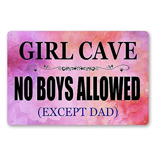 """TINSIGNS Lustiges Schild mit Aufschrift """"Girl Cave Bar Daughter Pink No Boys Allowed"""", Schlafzimmertür, Blechschild, Wanddekoration, Retro, 20,3 x 30,5 cm"""