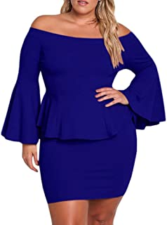 f0348b9ce2 Yskkt Womens Plus Size Peplum Dresses Off The Shoulder Short Sleeve Bell  Sleeve Ruched Bodycon Sexy