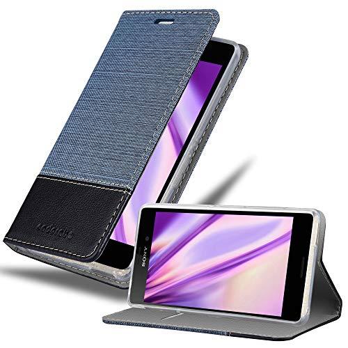 Cadorabo Hülle für Sony Xperia M4 Aqua in DUNKEL BLAU SCHWARZ - Handyhülle mit Magnetverschluss, Standfunktion & Kartenfach - Hülle Cover Schutzhülle Etui Tasche Book Klapp Style