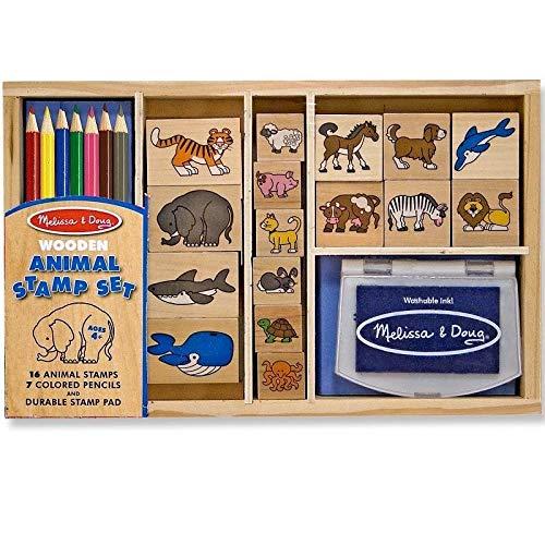 Melissa & Doug Set de tampons en Bois Les Animaux 24 pièces avec encreur et Crayons Enfants 4 Ans+