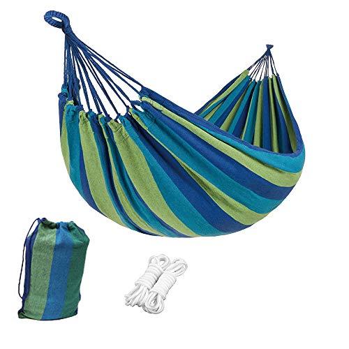 Amaca da Interno 1 Persona Amache da Campeggio Carico 200kg Traspirante Amaca in Cotone per Giardino Cortile Spiaggia Backpacking Escursionismo (Blu, 260x80cm)