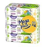 bella baby Happy Feuchttücher mit Seide & Baumwolle, 4er Pack (4 x 64 Stück) vielseitig, sanft und weich zur Babyhaut