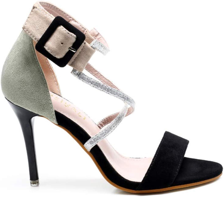 Women's Sandals - Cross Strap High Heel Stiletto colorblock Suede shoes