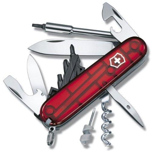 Victorinox Cyber Tool S Couteau de Poche Suisse, Léger, Multitool, 27 Fonctions, Lame, Bits, Tire Bouchon, Rouge Transparent