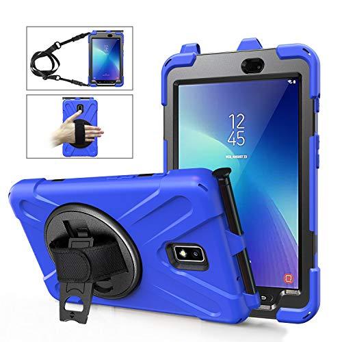 Coque Samsung Galaxy Tab Active 2 avec Support de Stylo Antichoc Heavy Duty Corps Robuste Étui de Protection Robuste Bandoulière et Main 8 Pouces