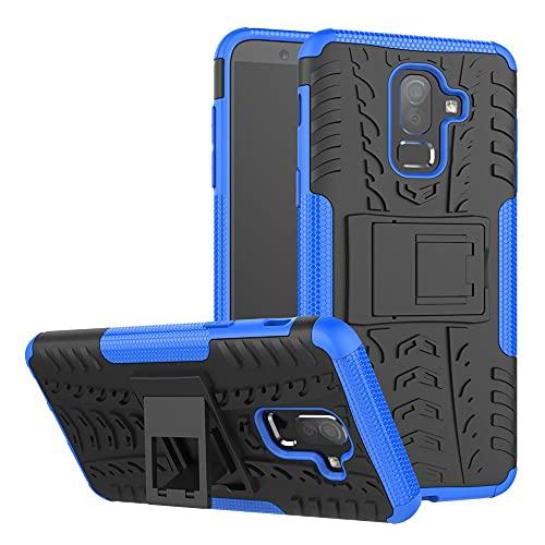 GUOQING Carcasa de telefono Estuche Protector para Samsung Galaxy J8 2018, TPU + PC Bumper Híbrido Híbrido de Grado Militar, Caja del teléfono a Prueba de Golpes con pienstero (Color : Dark Blue)