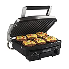 5-in-1 cooking versatility: contact grill, full griddle, full grill, panini press, half grill/half griddle. Reversible plates include a griddle on one side and grill on the other. Serves between 6 to 12: large 100 square inch surface opens flat to do...