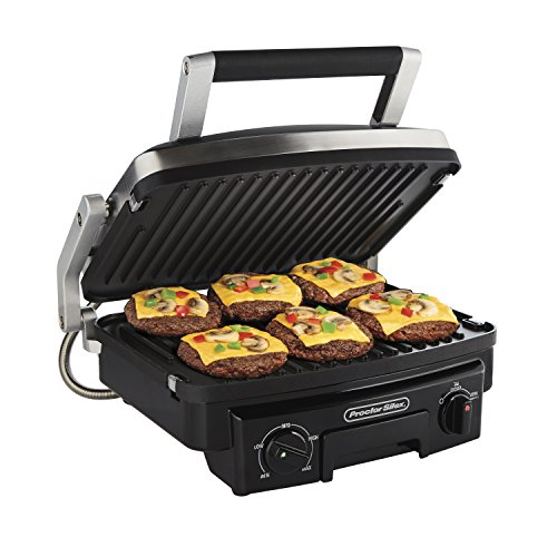 Proctor Silex 5-in-1 Electric Indoor Grill, Griddle & Panini Press, Opens Flat to Double Cooking Space, Reversible Nonstick Plates, Stainless Steel (25340R)