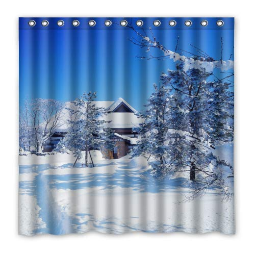 FUNNY KIDS' HOME Beautiful Winter Scenery Shower Curtain Snow Trees Countryside Landscape Bathroom Curtains Waterproof Polyester Fabric 72(w) x72(h) Rings Included