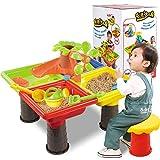 Set di pozze di sabbia per bambini, tavolo da spiaggia con sabbia da spiaggia Acqua da giardino all'aperto Gioca a vanga Giocattolo da tavolo Giocattoli da tavolo da sabbia
