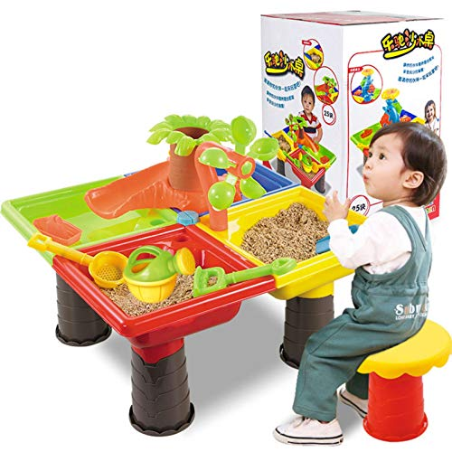 Mesa de Agua y Arena Mesita Infantil para Juegos y Actividades, Juego de arena para niños, juego de arena para playa, agua, jardín al aire libre, herramienta de pala