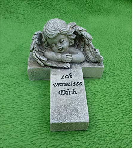 Home3010 +Grabschmuck Grabdeko/Kreuz *Ich vermisse Dich* wetterfest grau-antik 10 x 15 cm