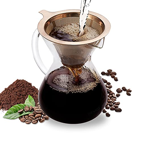 Gvode Pour Over Coffee Maker with Reusable Stainless Steel Mesh Filter ,27 Ounce, Borosilicate Glass