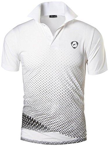 jeansian Herren Summer Sportswear Sport Golf Tennis Poloshirt Polo Tee Shirts Tshirt T-Shirt LSL195, Lsl195_whiteblack, USA L (175-180cm 70kg-75kg)