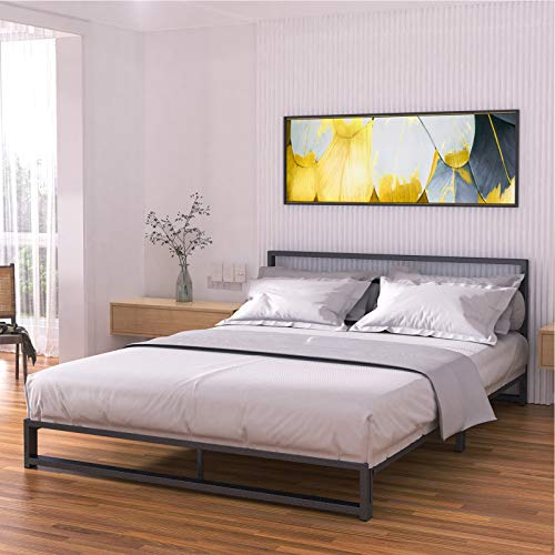 Noillats Metal Platform Bed Frame Queen Size with Headboard Low Profile, Premium Reinforced Steel Slat Support Mattress Foundation 7 Inch, No Box Spring Needed and Easy Assembly, Black