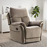 IOMOR Manual Fabric Recliner Chair, Soft Reclining Chair for Living Room Modern Sofa with Overstuffed Armrest and Back (Brown)