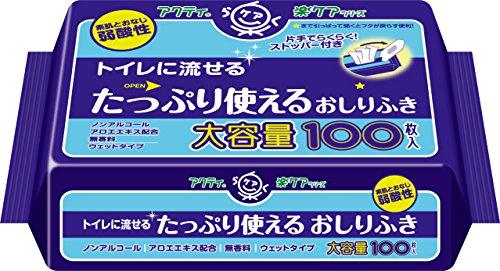 クレシア アクティ トイレに流せるたっぷり使えるおしりふき 100枚 [6217]