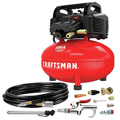 CRAFTSMAN Air Compressor, 6 gallon, Pancake, Oil-Free with 13 Piece Accessory Kit...