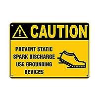 注意静電気防止 メタルポスタレトロなポスタ安全標識壁パネル ティンサイン注意看板壁掛けプレート警告サイン絵図ショップ食料品ショッピングモールパーキングバークラブカフェレストラントイレ公共の場ギフト