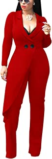 Women's Wide Leg Jumpsuits - Elegant Long Sleeve Romper High Waisted Palazzo Flare Pants Suit
