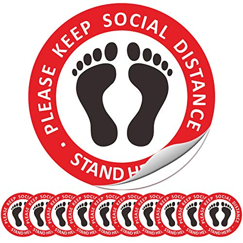 "Hamowtux 10 Pack 12"" Round Social Distance Floor Stickers Social distancing Floor Decals 6ft 6 feet Safety Floor Sign Marker Vinyl Removable Adhesive Sticker"
