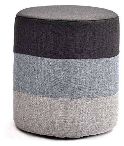 PGS Otomanas y reposapiés Tela de Lino Redondo Sofá Suave Taburete Otomano Cubo de Madera de Madera, Taburetes de Comedor Lavables Asiento de reposapiés bajo (Color : Gray)