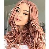 Becus 26'peluca delantera de encaje de onda larga rosa pelo sintético resistente al calor peluca de aspecto natural para mujer cosplay
