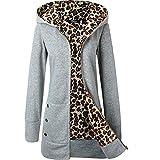 Katenyl Chaqueta de sudadera con estampado de leopardo grueso con capucha para mujer Tallas grandes Lindo...