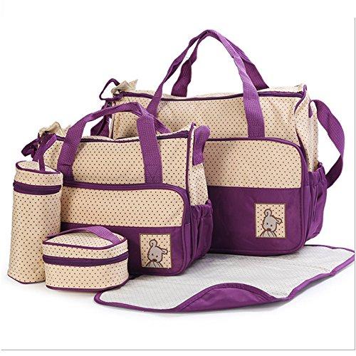 Sac à Langer confort bébé maman Set 5 pièces grande capacité - Multi-couleurs Optionnel (Violet foncé)