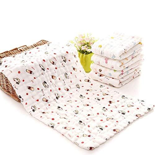 Pañuelo de algodón de gasa para bebé cuadrado muselina algodón toalla de cara toallitas transpirable suave y cómodo