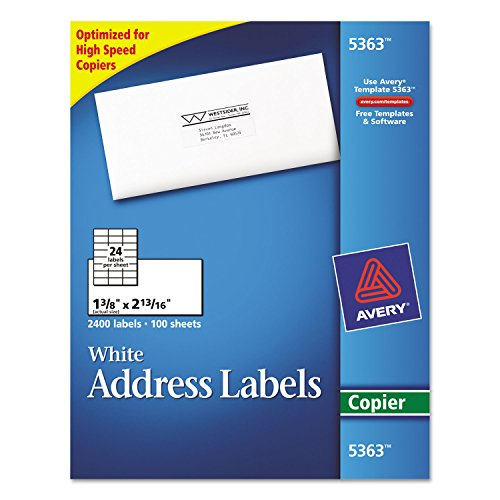 Avery 5363 Copier Label, Mailing, 1-3/8-Inch x2-13/16-Inch, 2400/BX, White