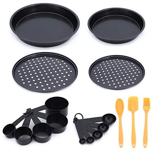 Gearific Set di vassoi per Pizza, teglia per Pizza in Acciaio al Carbonio Antiaderente con Pennello per Olio e Cucchiaio dosatore per Cucina Domestica