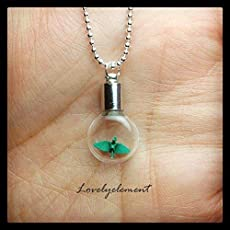 get well girlfriend Tiny origami paper crane in capsule necklace glass bottle with love letter personalised bbf