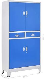 Festnight Armoire de Bureau métal avec 4 Portes Meubles de Rangement Gris et Bleu 90 x 40 x 180 cm (l x P x H)