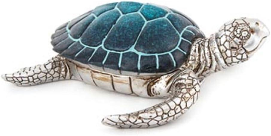 nauti Sea Turtle Trinket Box Blue polystone Body Ranking TOP10 Silver New Orleans Mall Shell 9
