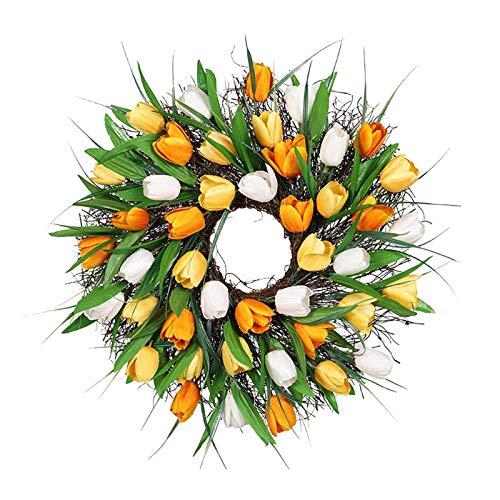 Corona De Tulipán De 11.81 Pulgadas Corona De Puerta Delantera Flores Artificiales Corona De Tulipán para Puerta Principal Sala De Estar Pared Jardín Boda Festival Decoración