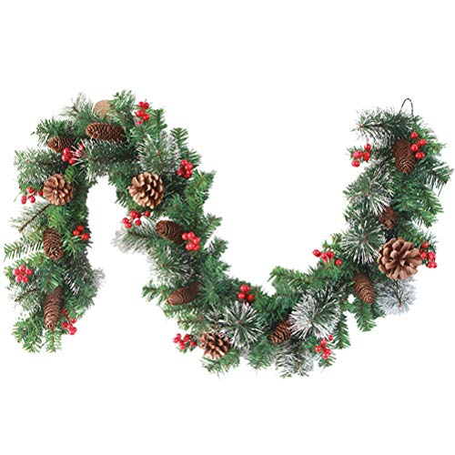 Hzemci Christmas Garland - 1.8M Christmas Realistic Artificial Garland, Home Window Garland, Christmas Greenery Garland, Holiday Garland, for Home, School, Office, Hotel, Shopping Mall, Bar