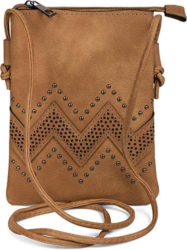 styleBREAKER minibolso de bandolera con motivo recortado en zigzag y remaches, bolso de hombro, bolso, de señora 02012211, color:Camel